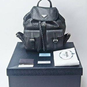 Prada Bags - Prada Black Genuine Python Snake Skin Backpack